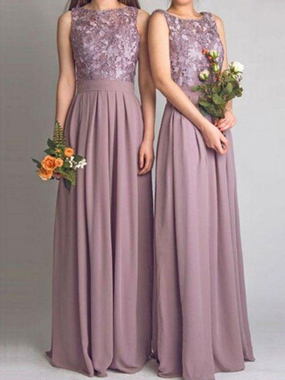 Chiffon günstige Brautjungfernkleider Bodenlang | wesele | Pinterest ...