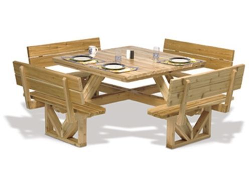 Square Picnic Table Plan Wood Woodworking Furniture
