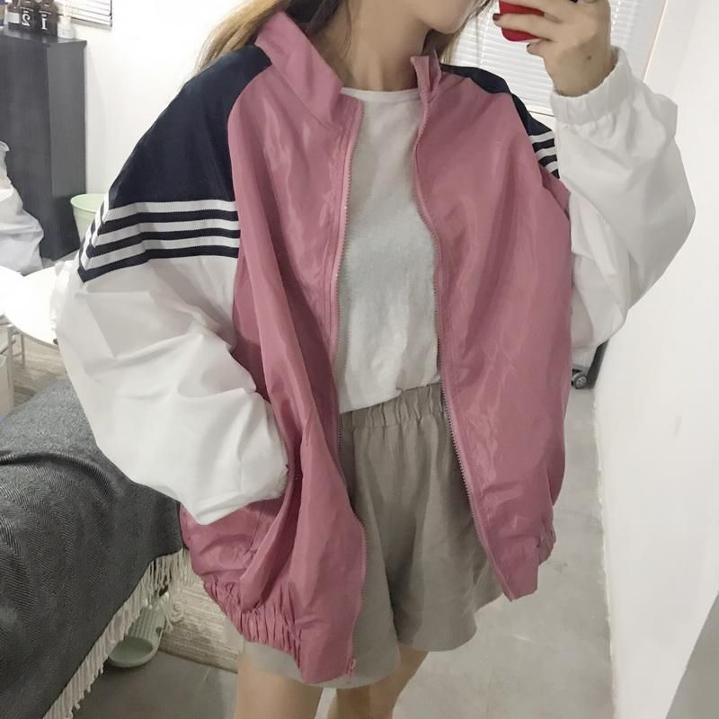 Sporty Pink Blue White Lines Windbreaker Jacket Korean Outfits Clothes Clothes Collection