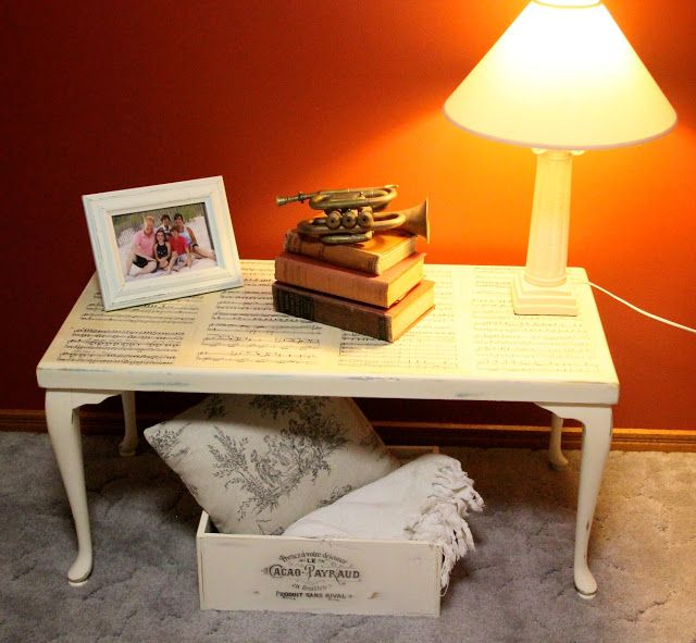 Sheet Music Coffee Table | Music Mod Podge Makeover