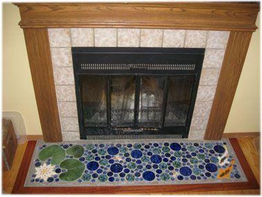fireplace - ceramic tile lily pond hearth, lily pond ...