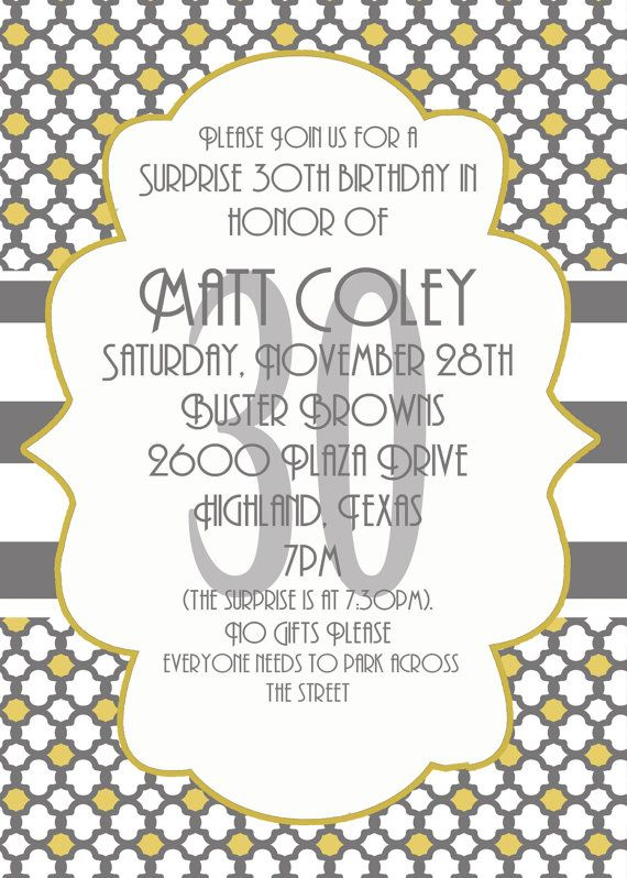 Masculine surprise party invitation Libbylu Ideas Pinterest - best of invitation birthday party text