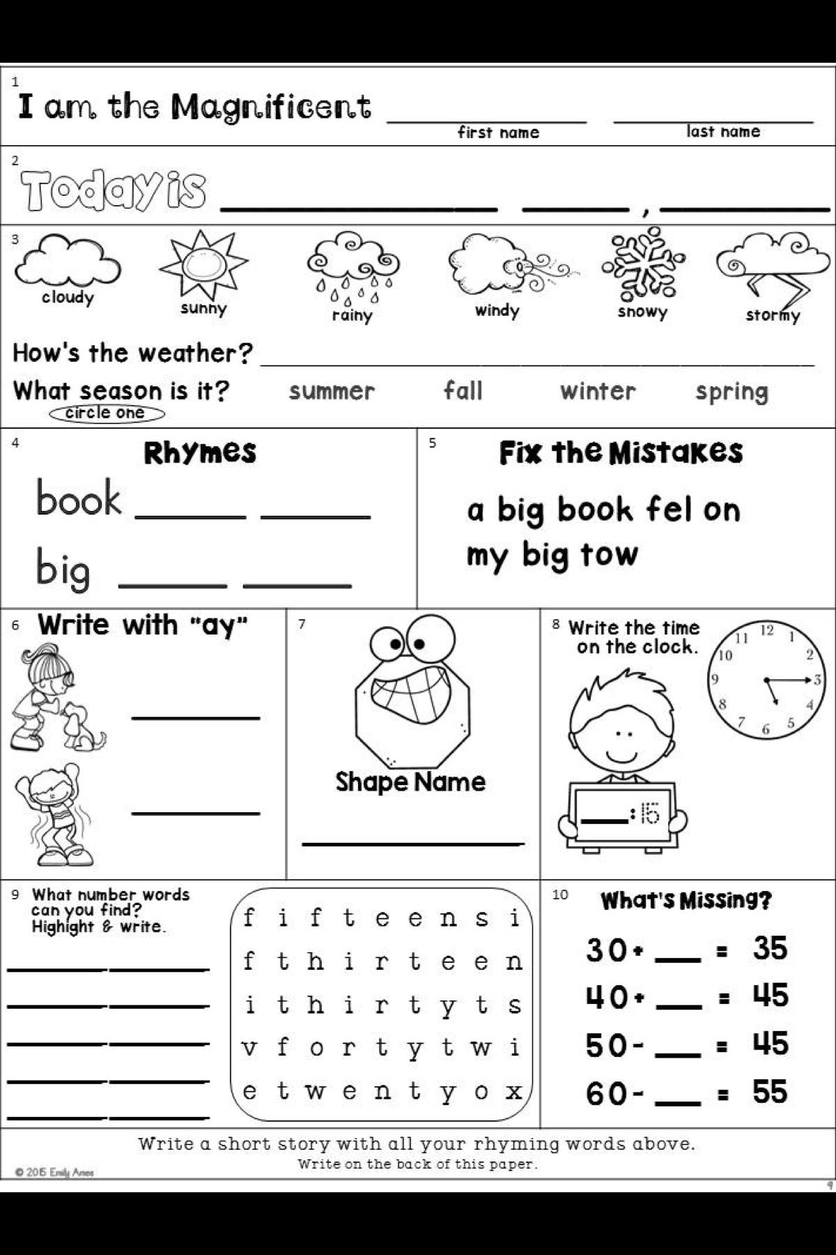 hight resolution of Second Grade Morning Work Freebie   Morning work freebie