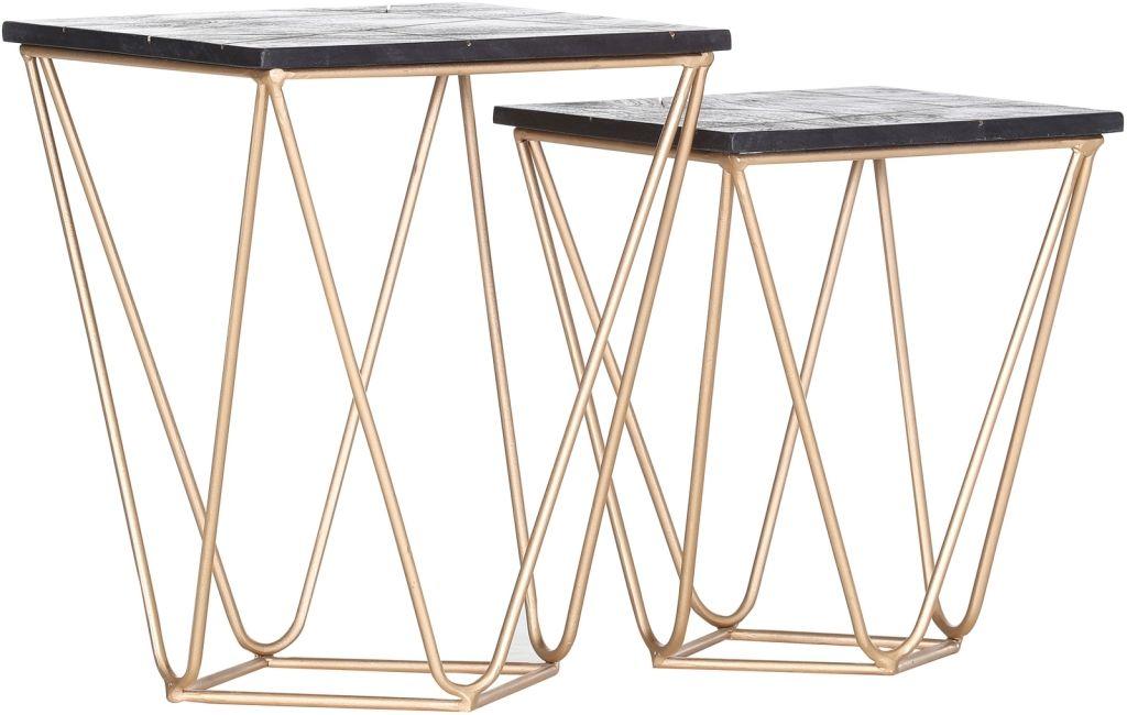 Scan Beistelltische Im 2er Set Quadratisch Gelb Gold Holz Massiv Metall Beistelltische Tisch Holz