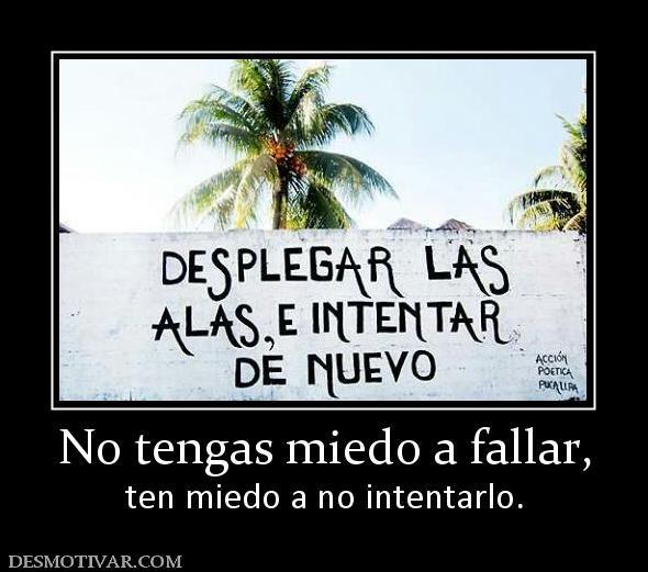 No tengas miedo a fallar, ten miedo a no intentarlo.