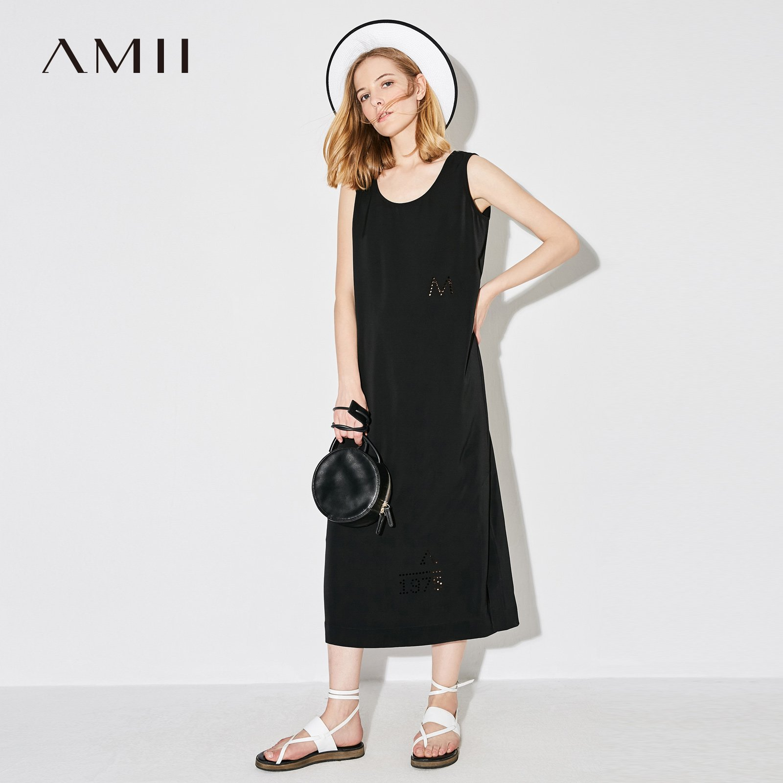 Casual women dress summer solid o neck sleeveless midcalf dresses