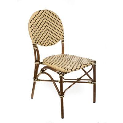 Cream & Black Café Bistro Chair CBCCB Stackable Aluminum ...