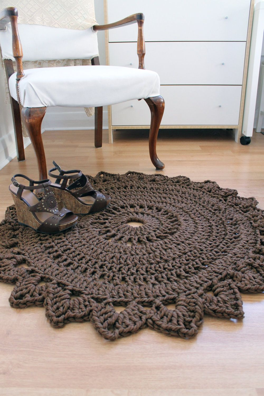 Rug made with macrame nylon yarn ~ROUND BEDROOM RUG Handmade Crochet ...