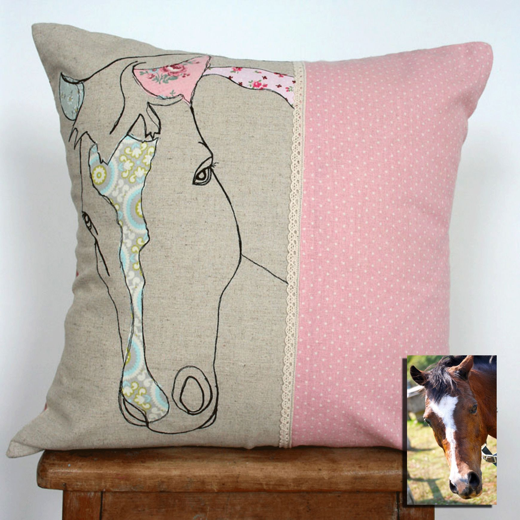 Hand appliqued cushion cover personalised with your pet quilting