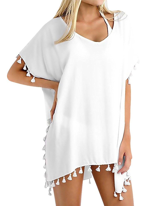 c5f3b8488e Womens Chiffon Tassel Beachwear Stylish Swimwear Bikini Swimsuit Cover up -  B-white - CI17YSCMDXT,Women's Clothing, Swimsuits & Cover Ups, Rash Guards  ...