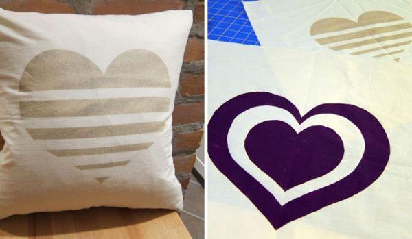 Ideen Kissen Bedrucken Herzen Freezer Paper Schablonen