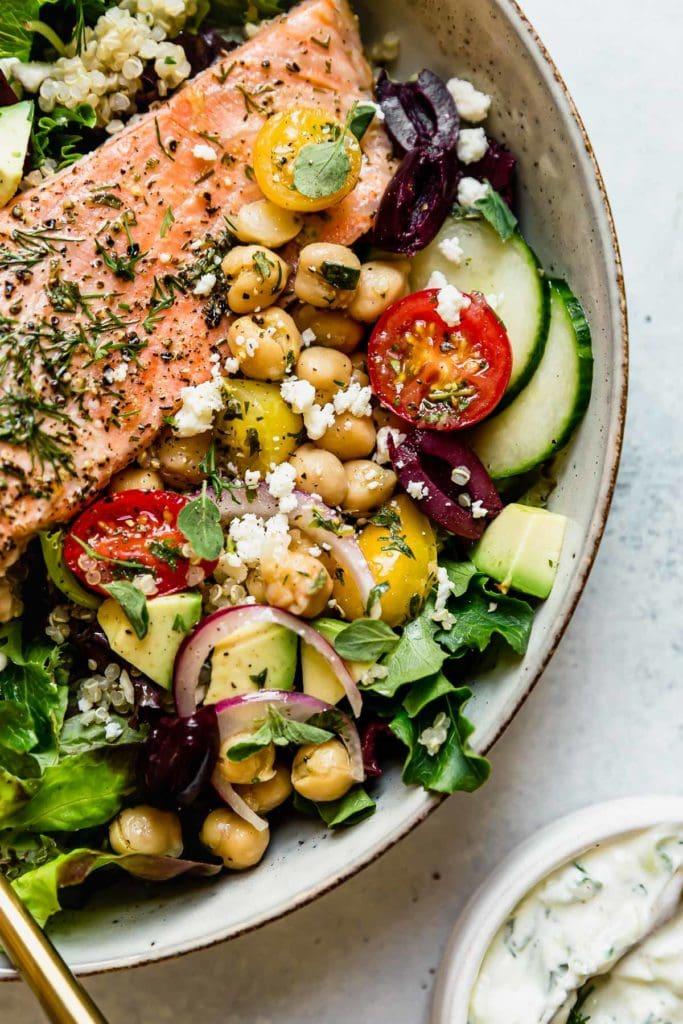 Mediterranean Bowl with Salmon - The Real Food Die