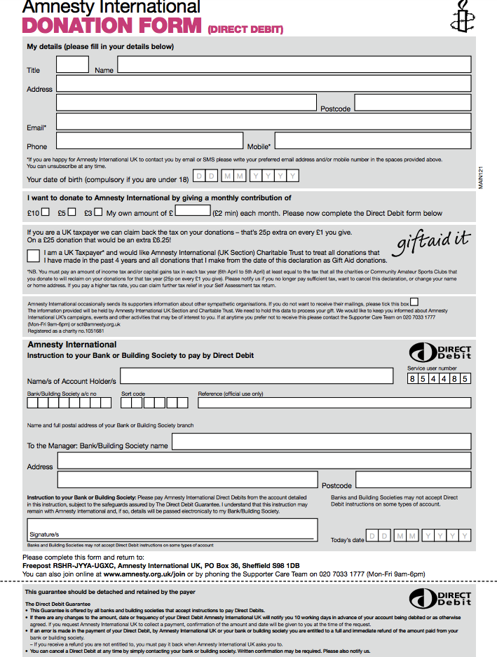 Amnesty Donation Form Template Donation Form Template Australia