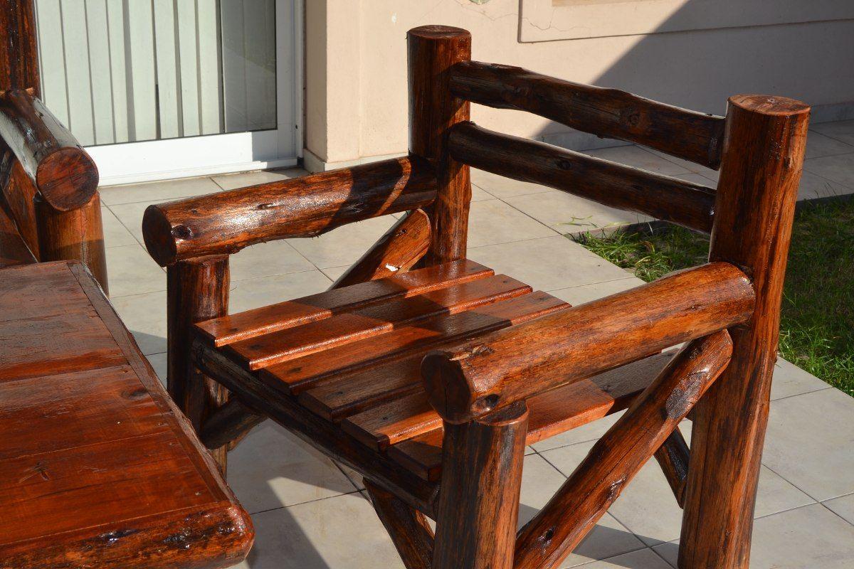 Juego de sillones r sticos de tronco en madera estilo for Sillones rusticos de madera