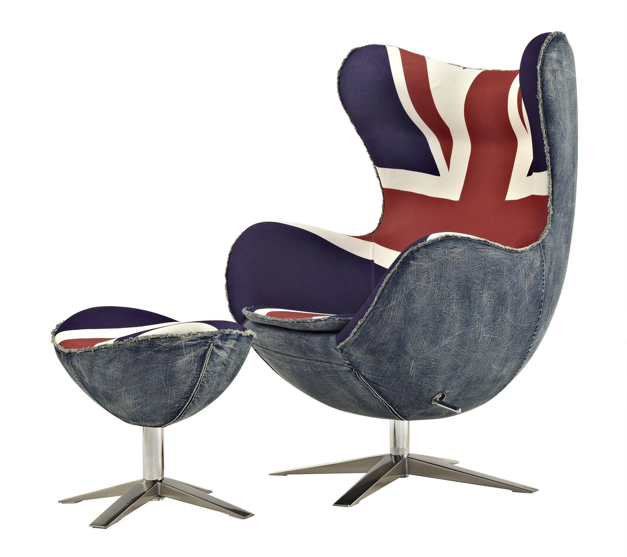 Bon Egg Chair Reproduction With Union Jack Print