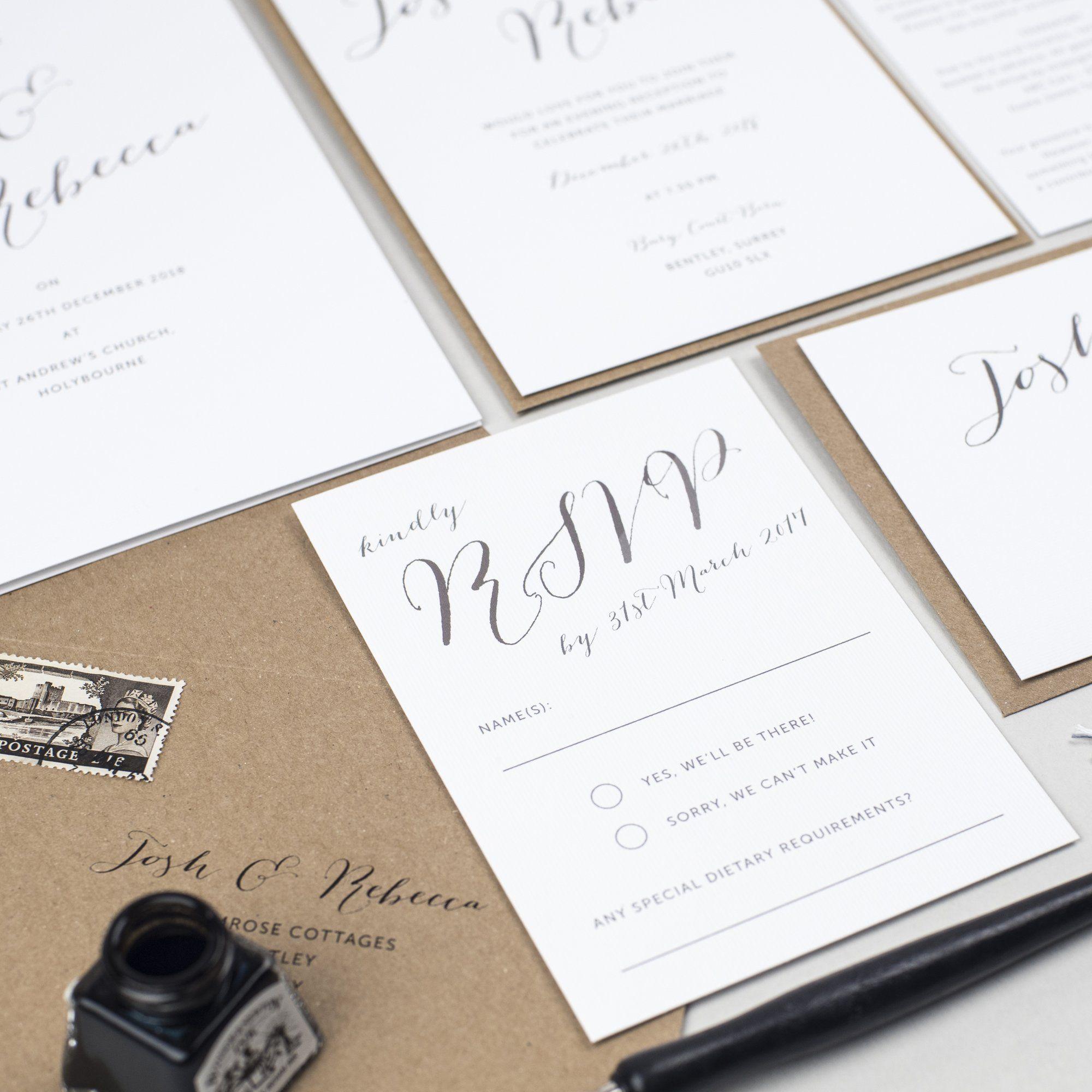 Elegant Calligraphy Wedding Invitation Suite (With images