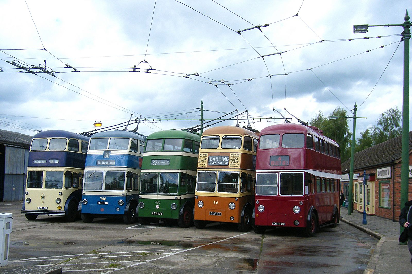 Line Of 5 Roe Bodied Trolleybuses Bus Coach Double Decker Bus Double Deck Bus