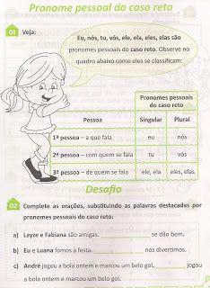 Escolinha Da Hora Pronomes Pessoais Atividades Sobre Pronomes