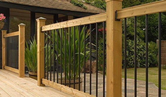 Wood And Iron Rail Wood Deck Railing Deck Railing Design Patio Railing
