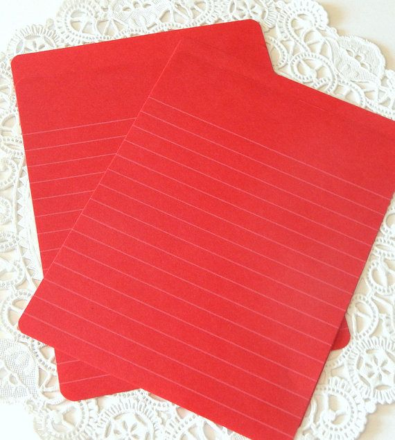 Vintage Red Lined Paper Writing Paper Red by ThePaperBasket My - lined paper for writing
