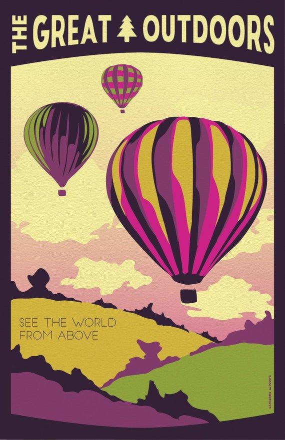 Hot Air Balloon Vintage Travel Poster See The World From | Etsy