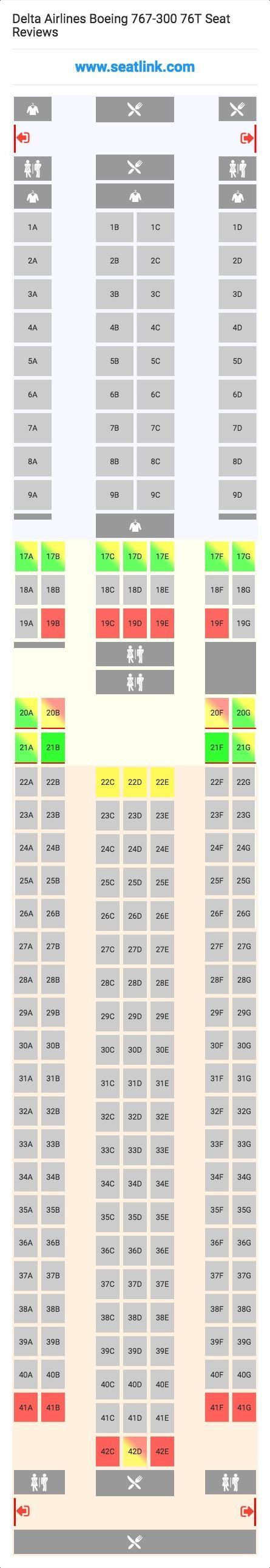 delta airlines boeing 767 300 76t 76w seat map airline seating rh pinterest com Delta 767 Interior Delta 767- 300