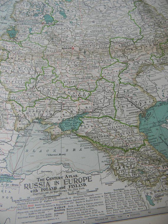Map SALE 1897 Map Russia in Europe - Vintage Antique Map Great for ...
