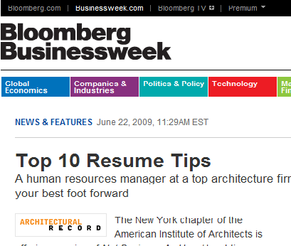 Top 10 Resume Tips (Bloomberg Businessweek)  Top 10 Resume Tips