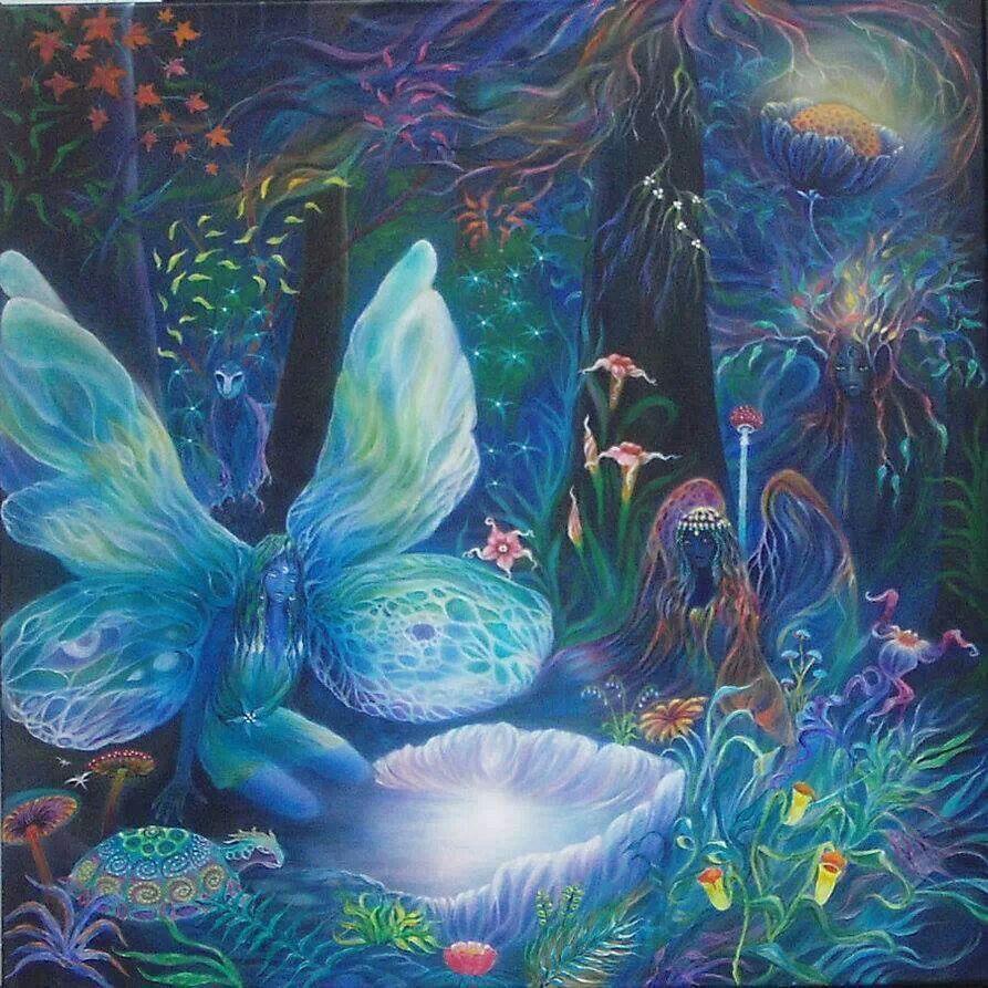 Indigo Fairy Art Tile Julie Fain 10x8 in Fairies Fantasy
