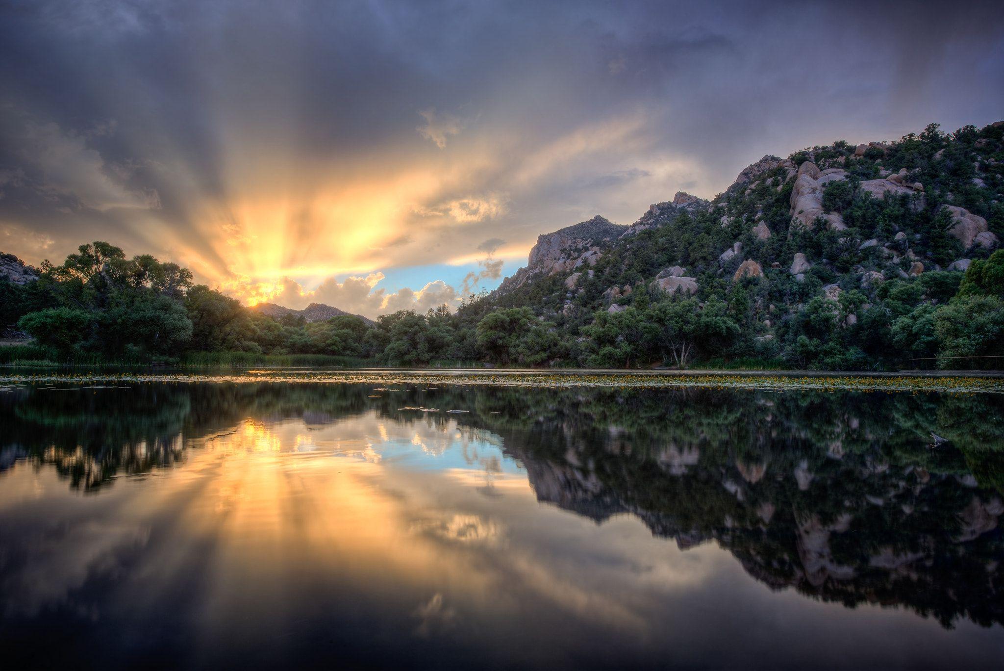 Granite Basin Lake Sun Rays Sunset At Granite Basin Lake Near