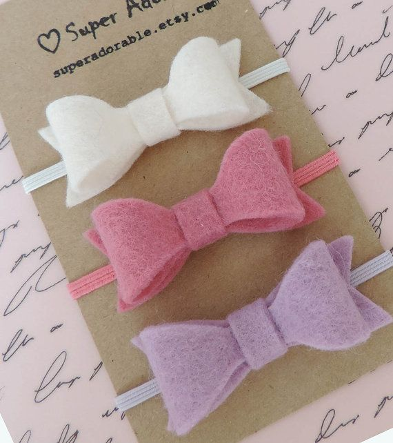 Felt Bow Headbands Tiny Bow Headbands Baby Girl Headbands #collectible #etsyretwt