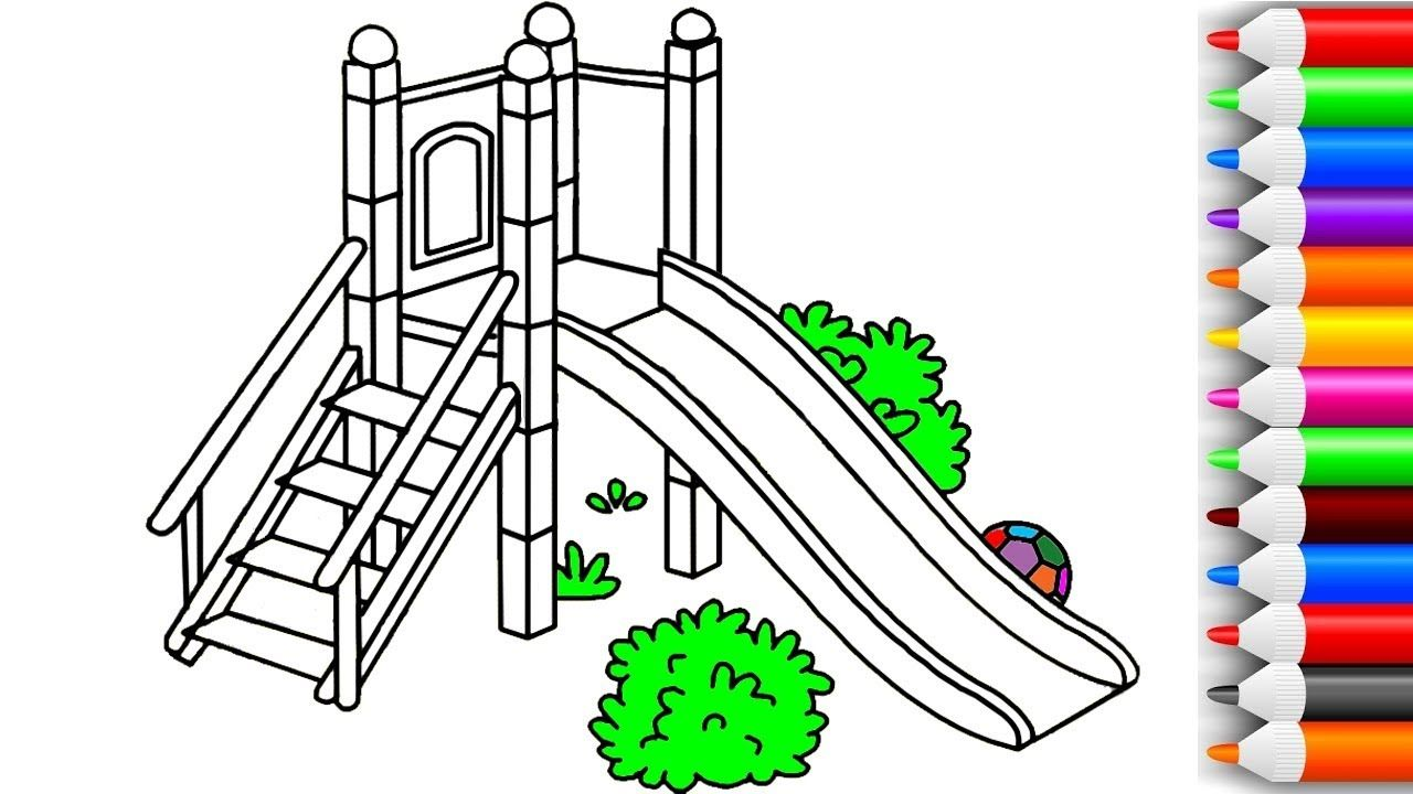How To Draw And Color Slide Playground Coloring Pages For Kids