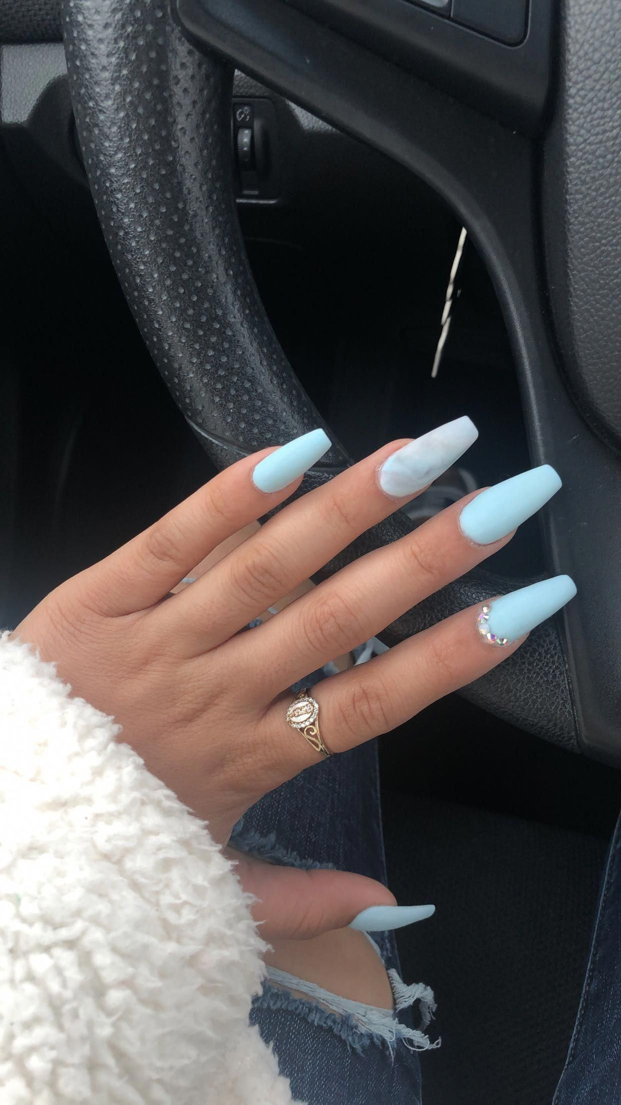 Beautiful Sky Blue French Tip Nails Crazynailshapes In 2020 Winter Nails Acrylic Blue Acrylic Nails Acrylic Nails Coffin Short