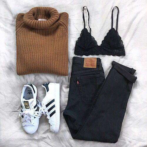 cheaper 2254a 45140 Brown Pullover + Black Jeans + Lingerie bra + adidas Superstar