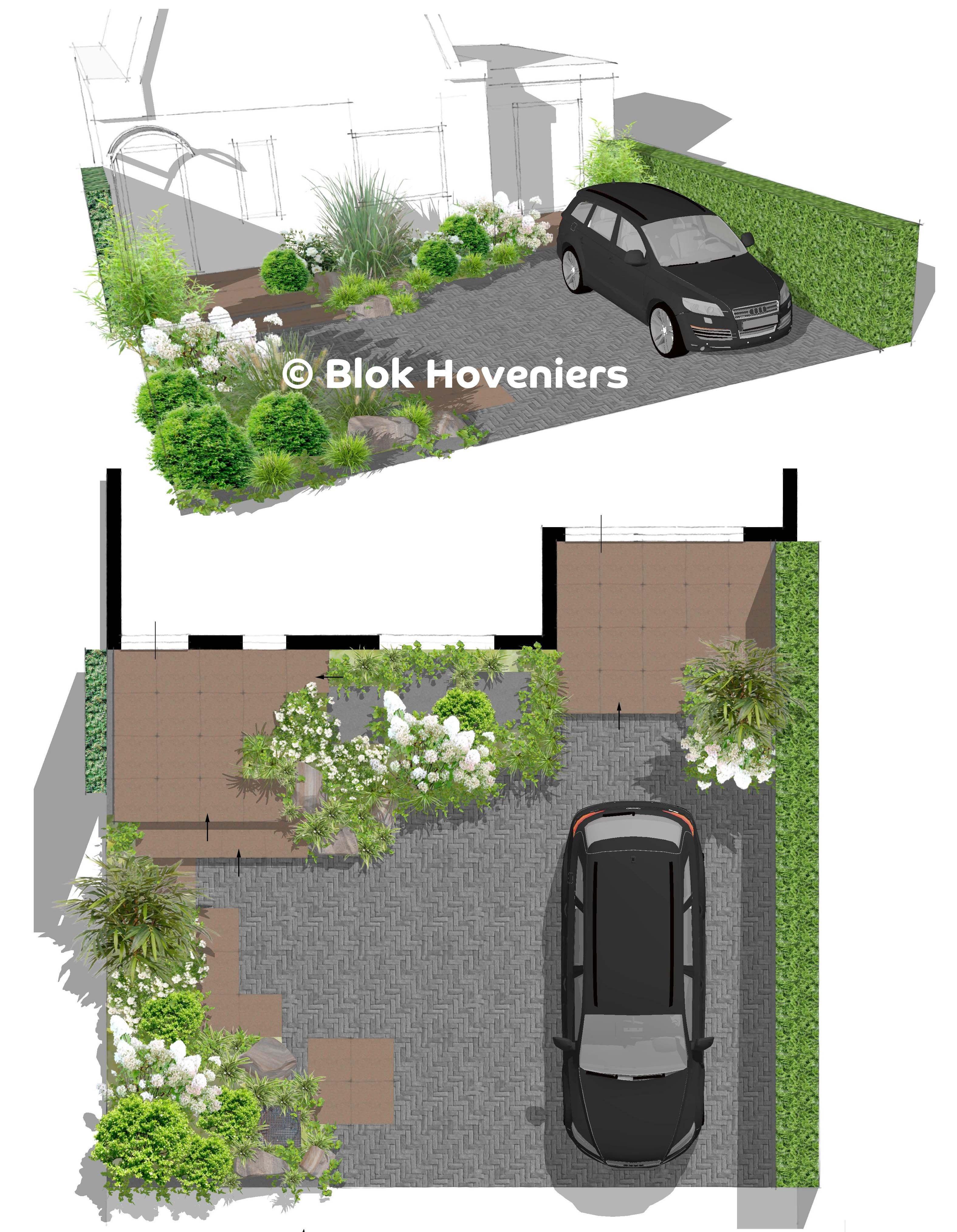 Blok hoveniers sketchup tuinontwerp voortuin oprit for 3d tuin ontwerpen