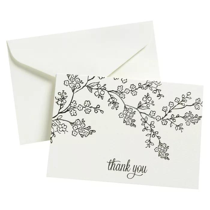 Thank You - 50 Ct FLP Blk Line Floral