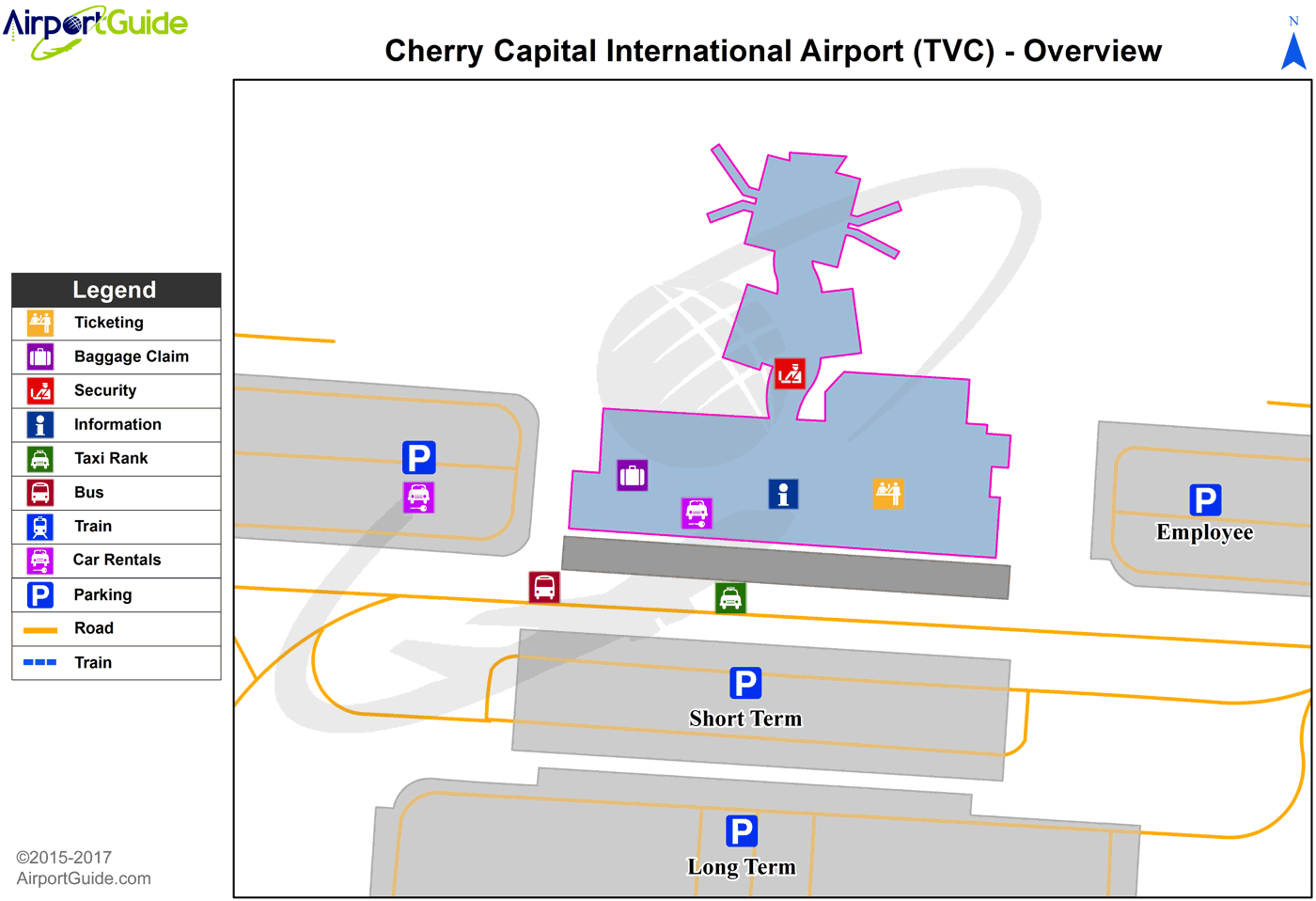 Traverse City Cherry Capital Tvc Airport Terminal Map Overview Airport Guide Airport Airports Terminal