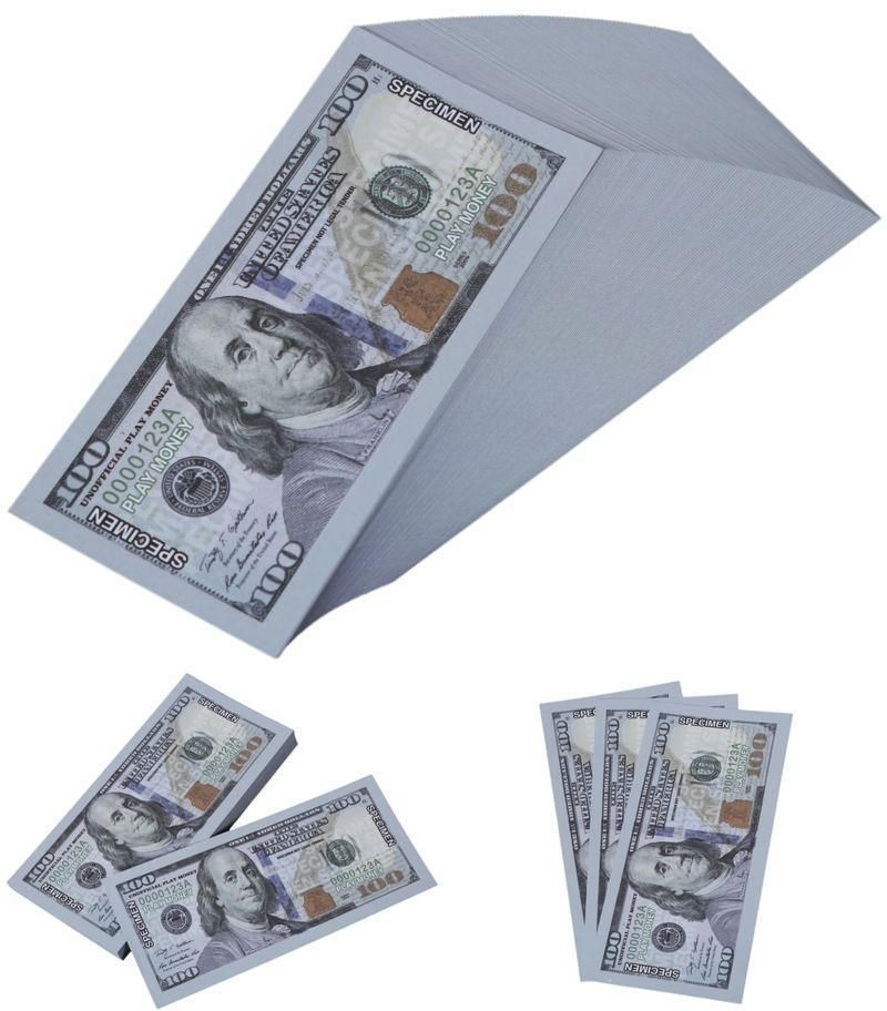 Realistic Double Sided Prop Money 100 Dollar 100 PCS Pretend