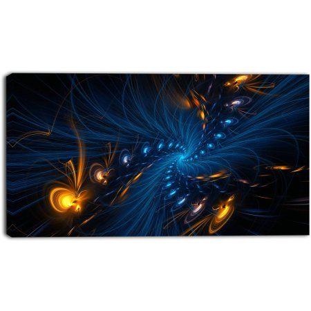 Design Art Illumination Digital Artwork on Canvas, 32 inch x 16 inch, Size: Medium 25 inch-32 inch, Blue