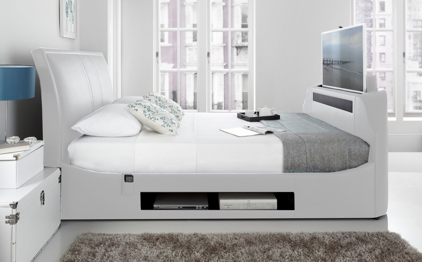 Best Maximus White Leather Multi Media King Size Tv Bed With 40 400 x 300
