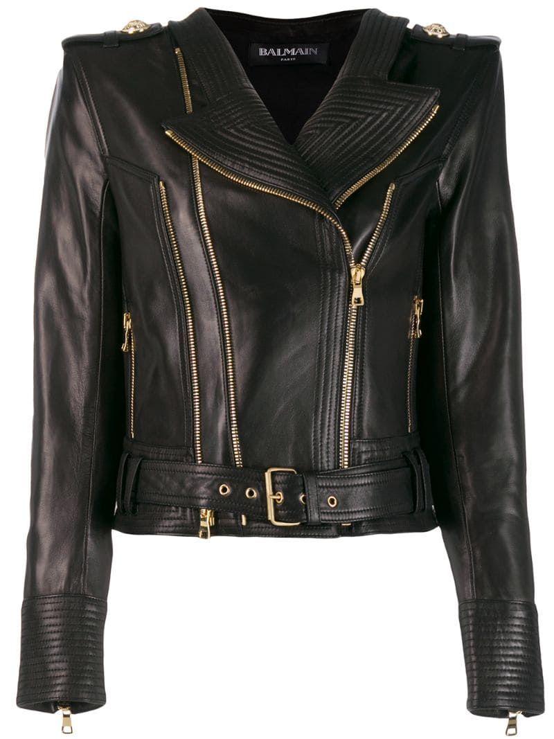 Balmain Ribbed Leather Biker Jacket Balmain Cloth Balmain Leather Jacket Black Leather Moto Jacket Black Leather Biker Jacket [ 1067 x 800 Pixel ]