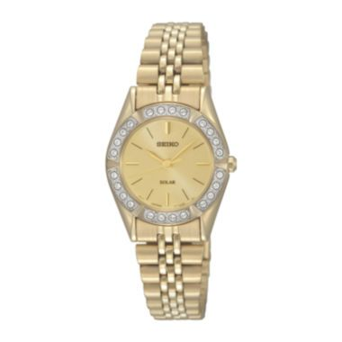 Seiko® Womens Crystal-Accent Gold-Tone Stainless Steel Solar Watch SUP096  found at @JCPenney