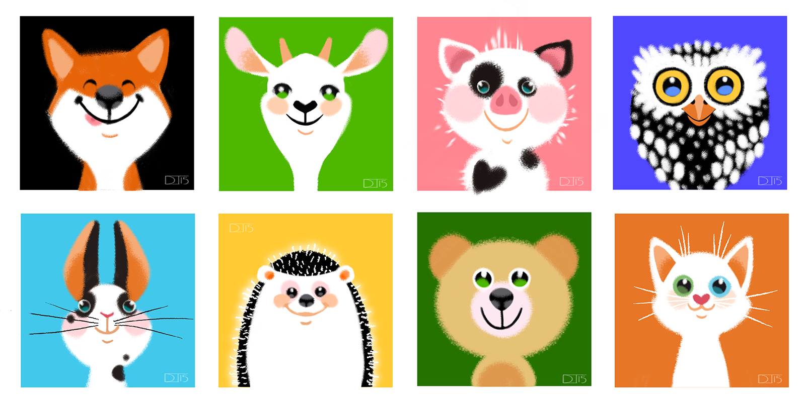 Animal faces. Concepts for paper cut illustrations for my baby-girl's room. I want to help my baby's eyes to develop easily in the most cutest way possible. Because at first the eyes of a newborn can catch mostly black and white I used simple shapes and contrast colors.