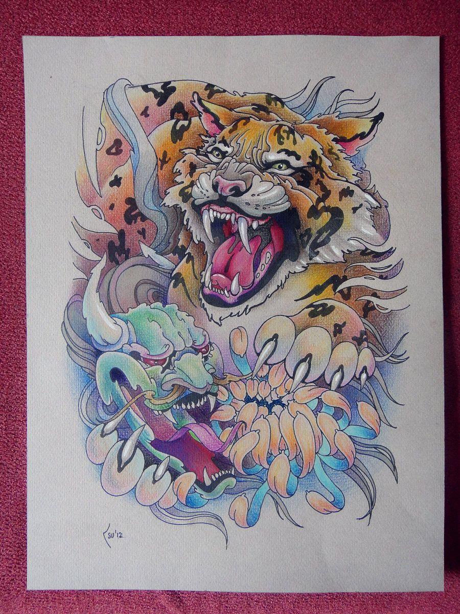 Tattoo design Tiger and Hanya Mask by Xenija88