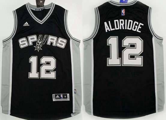 Men's San Antonio Spurs #12 LaMarcus Aldridge Revolution 30 Swingman 2015-16 New Black Jersey
