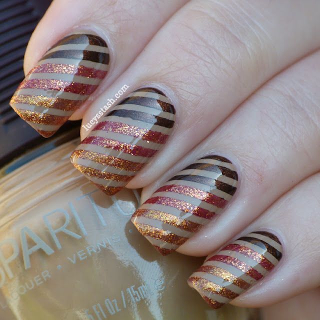 Concrete And Nail Polish Striped Nail Art: Beautiful Striped Gradient In Fall Colors! (With Images