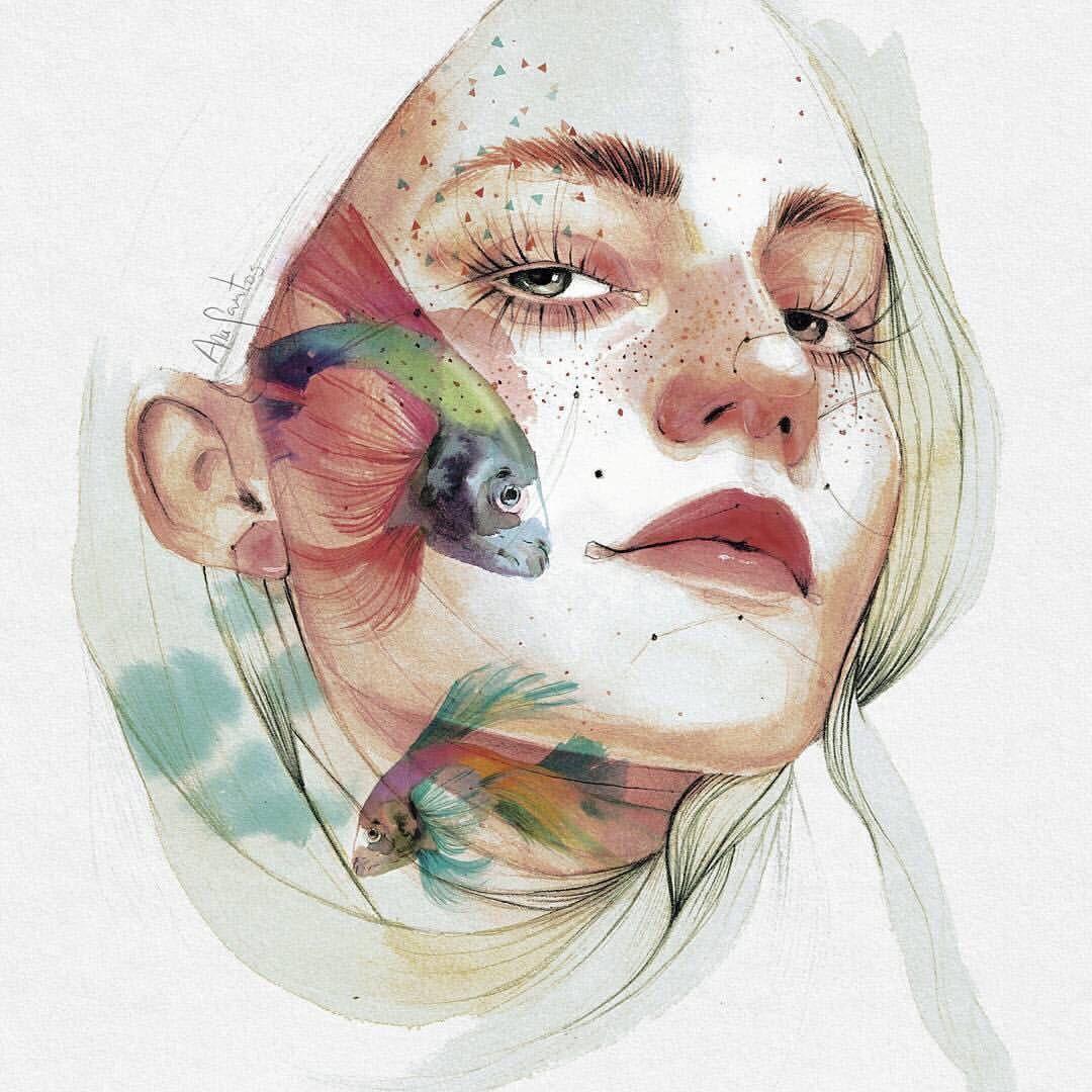 Картинки для срисовки акварелью девушки