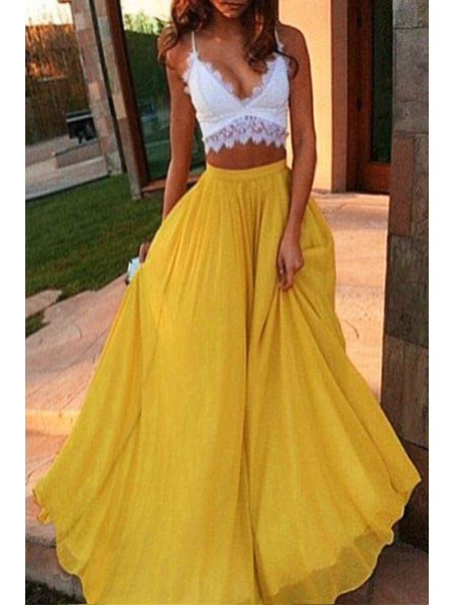 38d00961059a Sexy Two Pieces White Yellow Lace Chiffon Prom Evening Dresses 99602596