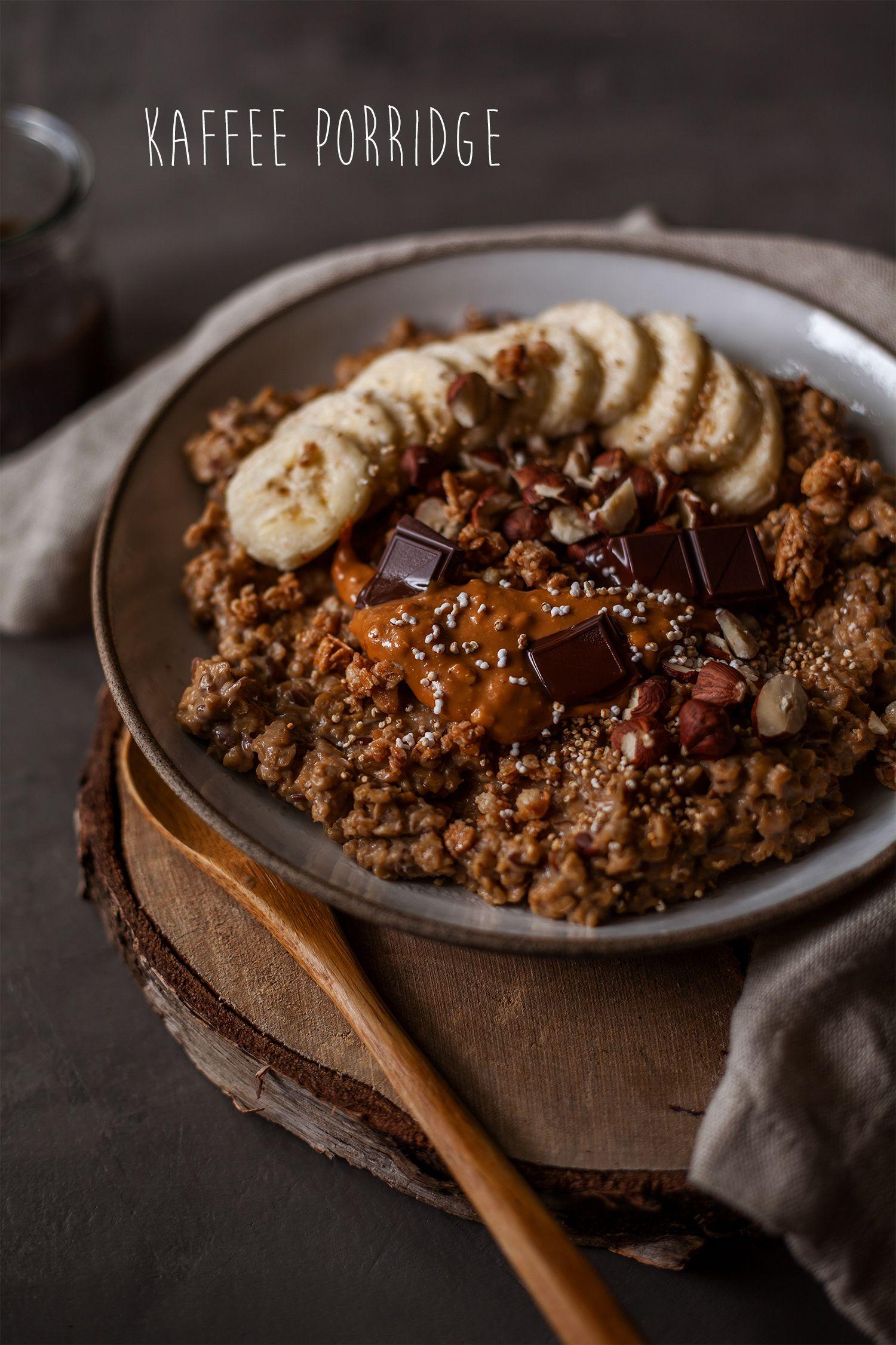 Photo of Warm coffee porridge with chocolate and peanut