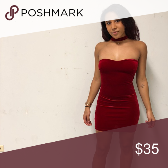 388ebc773263 Ruby red cocktail dress. Soft comfortable material, zipper in back,  comfortable choke hold. Never worn because I gained weight! Dresses Mini